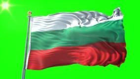 Bułgaria 3D renderingu chorągwiany bezszwowy zapętla wideo Piękny tekstylny sukienny tkaniny pętli falowanie ilustracji