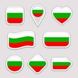 Bułgaria flaga wektoru set Bułgarscy flaga państowowa majchery inkasowi Wektor odosobnione geometryczne ikony Sieć, sport strony, ilustracja wektor