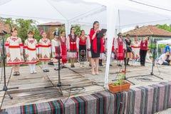 Bułgaria Koncert młodzi artyści na Nestenar grach w wiosce Bulgarians Zdjęcia Royalty Free