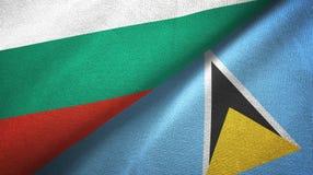 Bułgaria Lucia i święty dwa flagi tekstylny płótno, tkaniny tekstura ilustracja wektor