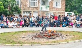 Bułgaria Scale węgiel drzewny na Nestenar grach w wiosce Bulgarians Zdjęcie Stock