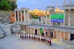 Bułgarska folklor grupa, Plovdiv amfiteatr zdjęcia royalty free