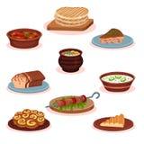 Bułgarskiej kuchni krajowy jedzenie rozdaje set, tradycyjna zdrowa wyśmienicie karmowa wektorowa ilustracja na białym tle royalty ilustracja