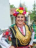 Bułgaria Jaskrawy kobiety ` s strój na Nestenar grach w wiosce Bulgarians Obrazy Royalty Free