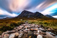 Buachaille Etive Mòr and Lagangarbh Hut, Scottish Highlands. Buachaille Etive Mòr and Lagangarbh Hut, Glen Coe and Glen Etive, Scottish Highlands stock images