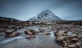 Buachaille Etive Mor. In Jan 2018 with a big fall of snow and tempratures around -10 this was taken just after sunrise and just vefore the wind storm came in Stock Images