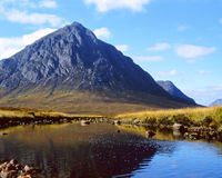 Buachaille etive mor, River Etive. A film scan of the river flowing with Buachaille etive mor in the background Stock Image