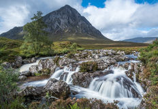 Buachaille Etive Mor and the waterfalls Stock Photos