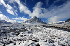 The Buachoille Etive. Mountain high up in Glencoe Scotland Royalty Free Stock Images