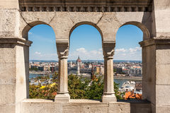 Buadpest-Panoramaansicht von Gellert-Hügel, Ungarn Lizenzfreies Stockbild