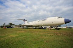 TU 154. BUBAPEST-September7: MALEV Aircraft Museum Soviet aircraft TU 154 the Hungarian airline `Malev`, Permanent International Aerospace Exhibition wat Stock Photos