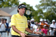 Bubba Watson at the 2015 Barclays Tournament held at the Plainfield Country Club in Edison,NJ. EDISON,NJ-AUGUST 25 Bubba Watson talks about Birdies for the royalty free stock images