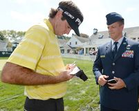 Bubba Watson am Barclays-Turnier 2015 gehalten beim Plainfield Country Club in Edison, NJ lizenzfreies stockfoto