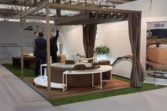 Bubbelpool på skärm på HOMI, internationell show för hem i Milan, Italien Royaltyfri Bild