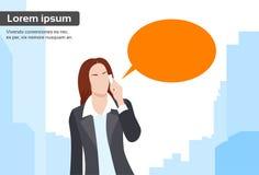 Bubbla för affärskvinnaSmart Phone Talk pratstund Arkivbilder