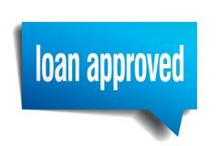 bubbla för anförande för blått papper för lån godkänd stock illustrationer
