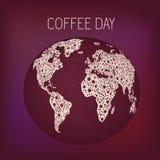 Bubbla för dag för tryckvärldskaffe royaltyfri illustrationer
