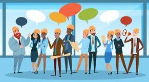 Bubbla för kommunikation för byggmästareTeam Architect Mix Race Workers pratstund som talar diskutera det sociala nätverket royaltyfri illustrationer