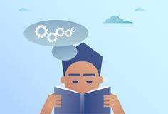 Bubbla för pratstund för läsebok för affärsman med begrepp för kugghjulidékläckningprocess royaltyfri illustrationer