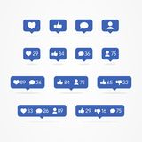 Bubbla för vektorTooltip anförande som, i motsats till, anhängare, kommentar, meddelande, hjärta, användaresymbolsuppsättning Soc royaltyfri illustrationer