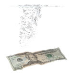 Bubbla- och dollarsedel i vatten Arkivbild