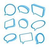 bubblaanförande för blue 3d Royaltyfria Bilder