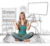 bubblalotusblommar poserar anförandekvinnan Arkivbild