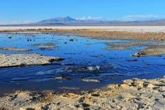 Bubblandevatten i Salar de Uyuni Fotografering för Bildbyråer