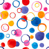 Bubblar den sömlösa modellen för vektorn med vattenfärgen för design stock illustrationer