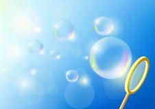 Bubblar mot blåttskyen Royaltyfri Bild
