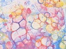 Bubblar rött handgjort för vattenfärg Fotografering för Bildbyråer
