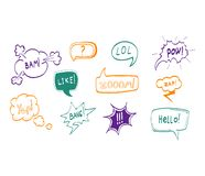 Bubblar utdraget komiskt anförande för handen den tunna linjen symbolsuppsättning vektor stock illustrationer
