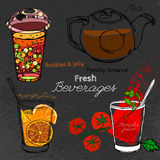 Bubblate tecknad hand Fotografering för Bildbyråer