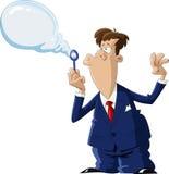 Bubble. A man inflates a bubble, vector Stock Photo