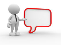 Bubble. 3d people - man, person with a blank speech bubble. Communication concept Stock Photography