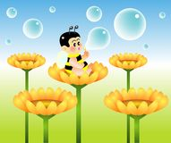 Bubble. Vector illustration for a baby bee blowing bubble Stock Images
