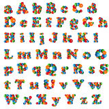 Bubble Alphabet. Alphabet (Lower and Uppercase Letters) Made Of Colored Bubbles Isolated On White Stock Image