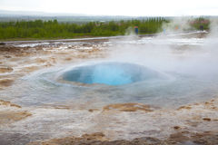 Bubble appear  before the eruption of the geyser Strokkur Stock Images