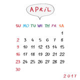 Bubble april 2017. April 2017 calendar with original hand drawn text and speech bubble Royalty Free Stock Photo