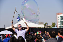 Bubble Artist entertaining the crowd Royalty Free Stock Photography