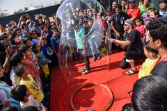 Bubble artist entertaining the crowd Royalty Free Stock Photo