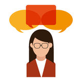Bubble and avatar woman design. Bubble and avatar woman icon. Communication message discussion and conversation theme. design. Vector illustration stock illustration
