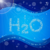 Bubble background. Blue banner or flyer with water molecule. Water bubble background. Blue banner or flyer with water molecule h2o. Text made with cool bubbles stock illustration