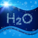 Bubble background. Blue banner or flyer with water molecule. Bubble background. Blue banner or flyer with water molecule h2o. Text made with cool bubbles. Shiny Stock Photo