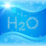 Bubble background. Blue banner or flyer with water molecule. Royalty Free Stock Photos
