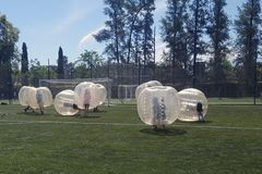 Bubble balls game. Teenagers having fun during a bubble bump game outdoors player team sport football adversary child risk shock people transparent inside royalty free stock photo