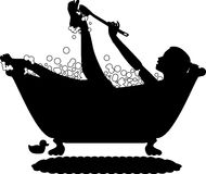Bubble_bath_silhouette. Silhouette graphic depicting a woman taking a bubble bath Royalty Free Stock Photography