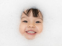 Bubble bath time happy portrait Royalty Free Stock Photo