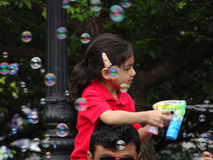 Bubble Battle NYC 2016 Part 3 1. Millions of bubbles fly through the air during the bubble battle! Loosely based on the Dr. Seuss Classic The Butter Battle Book Royalty Free Stock Image