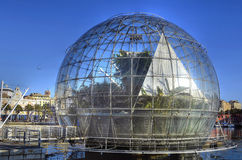 The bubble (biosphere) by Renzo. Piano, is located by the sea, to the side of the Aquarium of Genoa and houses inside a tropical environment Stock Photos